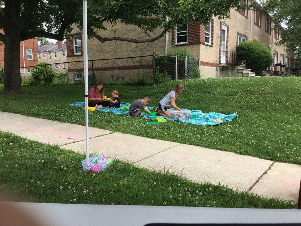 Summer Reading activities at a neighborhood stop.