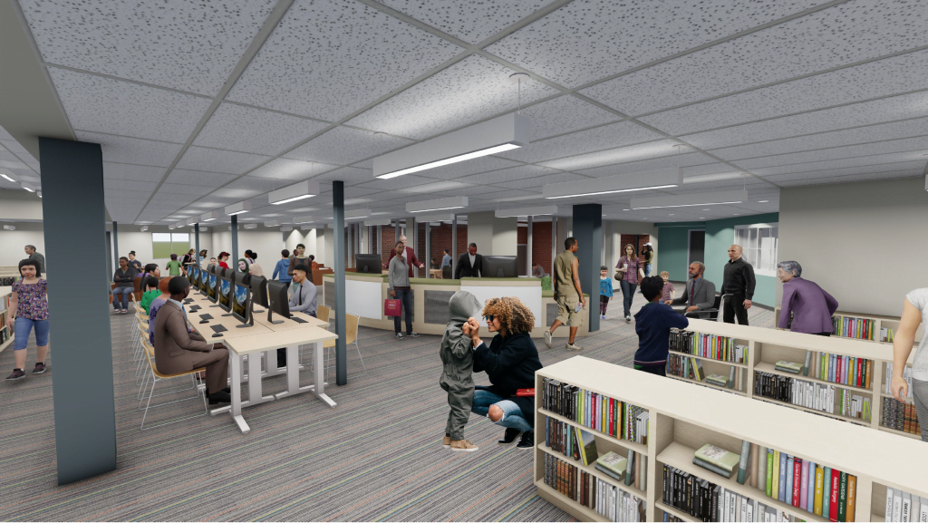 Rendering of the renovated Reisterstown Branch.