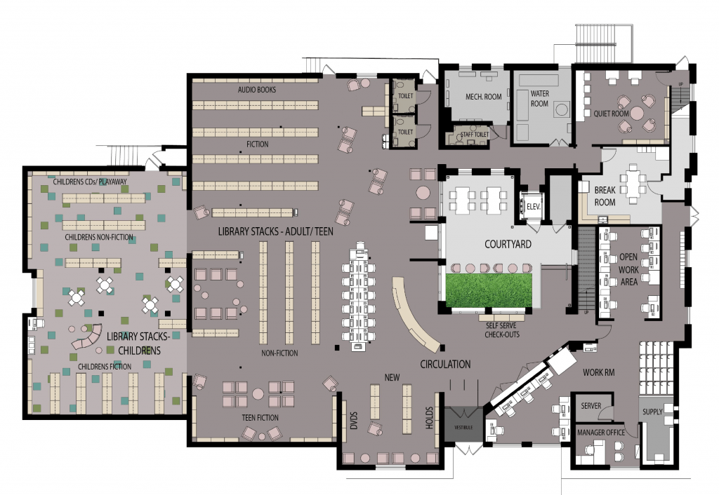 Floorplan for the renovated first floor.